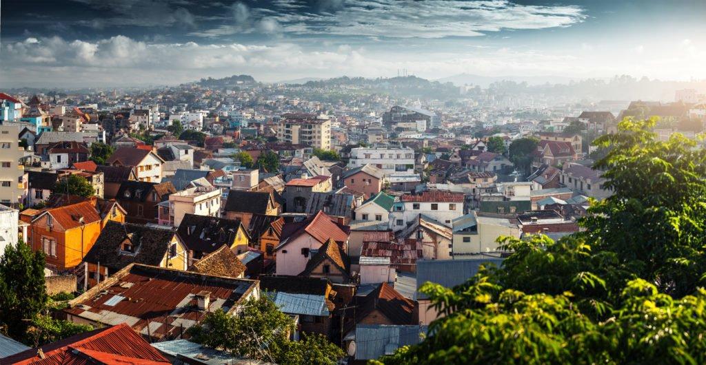 Panorama over byen Antananarive i morgengryet, Madagaskar