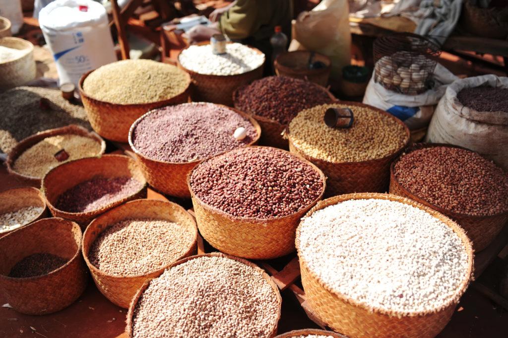 Soy, rice and other plants. City market. Antananarivo