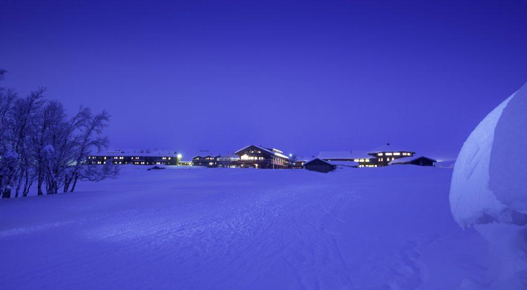 Spidsbergseter Resort Rondane i blåtimen
